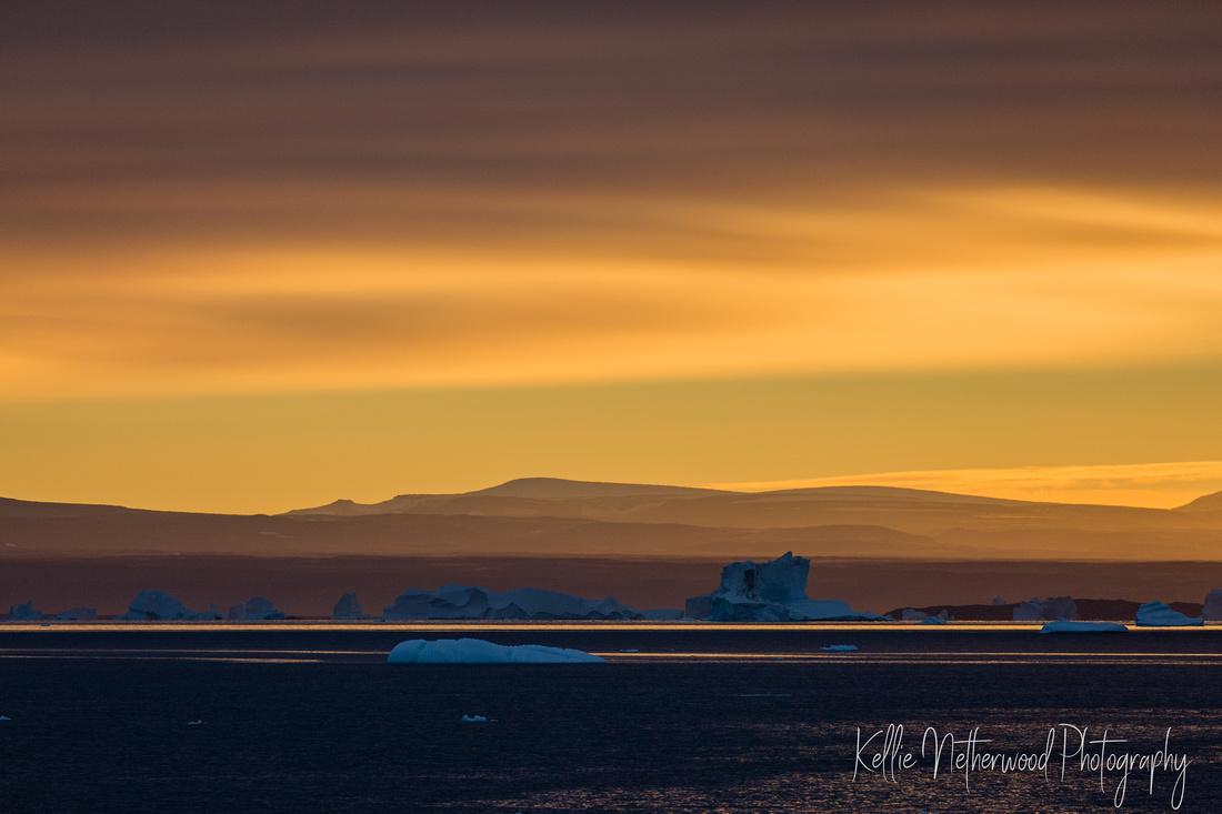 Sunrise icebergs East Greenland