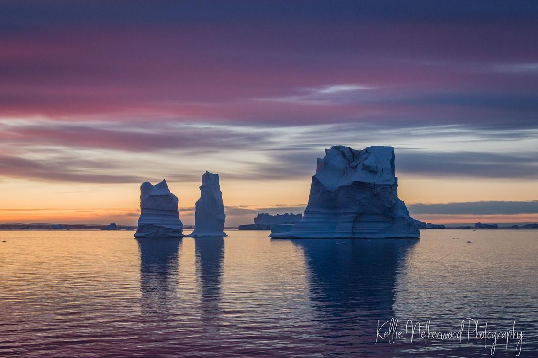 Sunrise & Icebergs at Scoresby Sund East Greenland